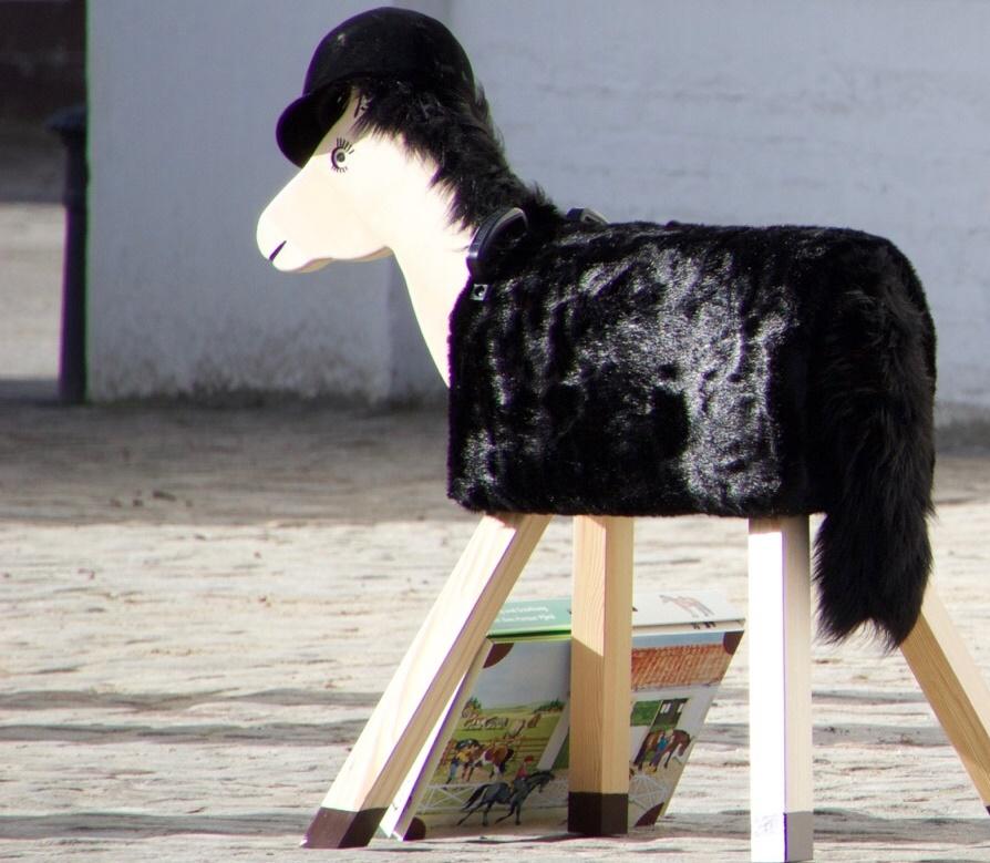 Pferde für unsere Kinder e.V. Holzpferd mit Helm