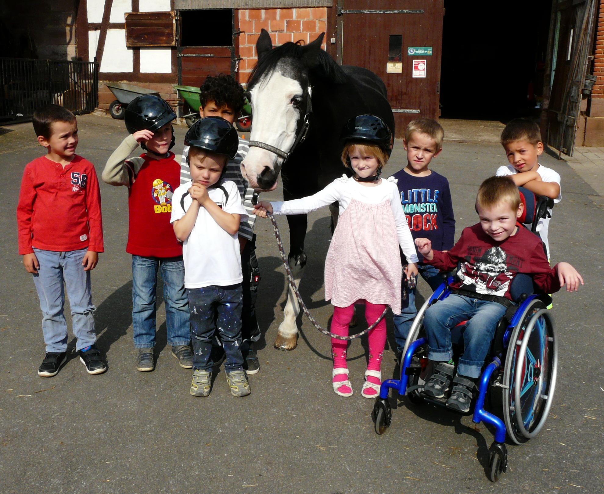 """""""Pferde für unsere Kinder e.V.""""-Projekttag in Kleinseelheim - Kita """"Das Nest"""" besucht Pony eros auf dem Pferdehof Römer"""