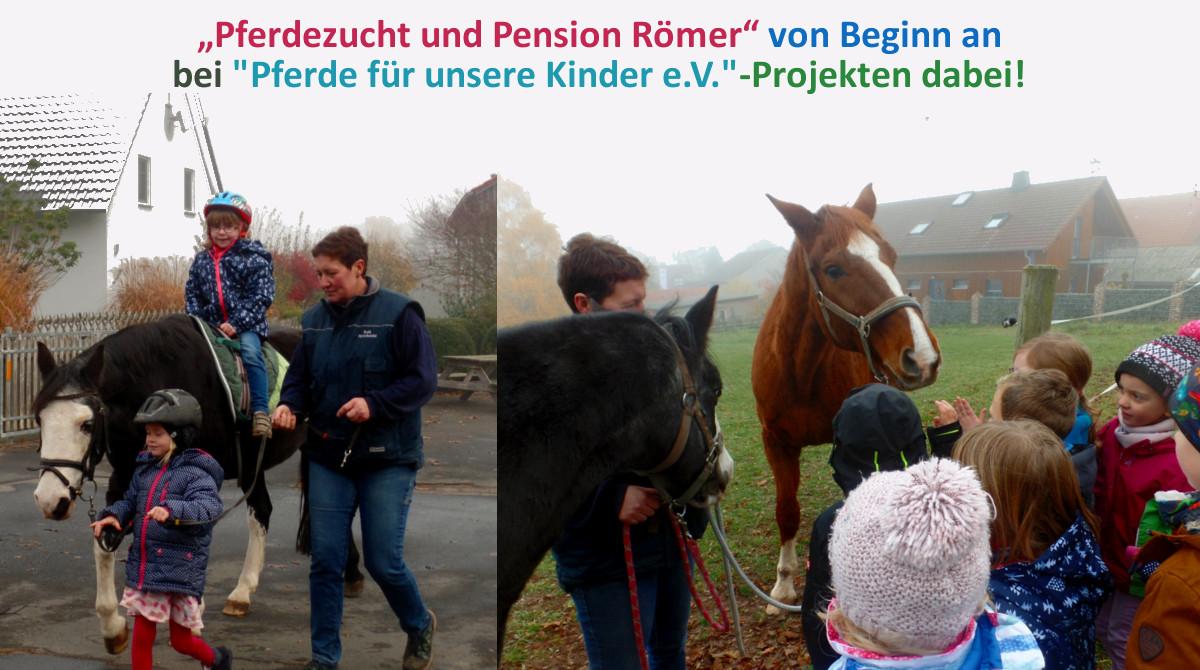 """Familie Römer-Stauber unterstützt mit Pferdezucht und Pension Römer""""""""Pferde für unsere Kinder e.V.""""-Projekte"""