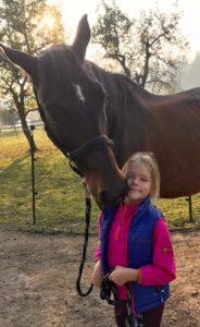Mädchen schmust mit großem braunen Pferd