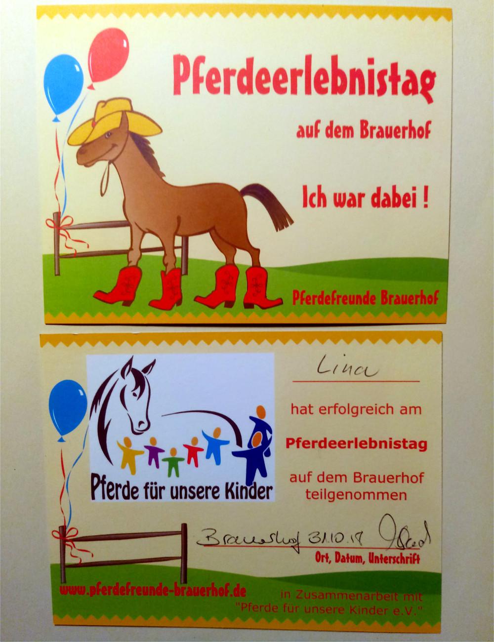 Pferde für unsere Kinder e.V. Pferdeerelbnistag Pferdefreunde Brauerhof (II)