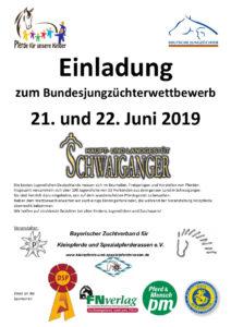 Deutschen Jungzüchter und Pferde für unsere Kinder e.V. laden zum 23. Bundesjungzüchterwettbewerb 2019 und Eltern-Kind-Tag im Haupt- und Landgestüt Schwaiganger ein