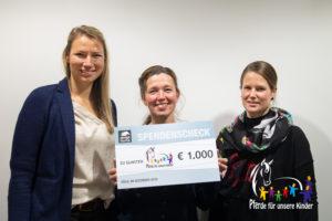 Spendenübergabe koelnmesse an PfuKeV - Ines Rathke, Dr. Christina Münch, Caterina Steffen 2019-12-06